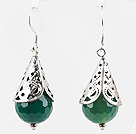 Classic Design Faceted Green Agate Earrings under $ 40
