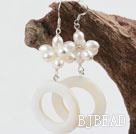 White Freshwater Pearl and White Shell Fashion Earrings under $ 40