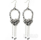 New Style Gray Series Gray and Clear Crystal Tassel Fashion Earrings under $ 40