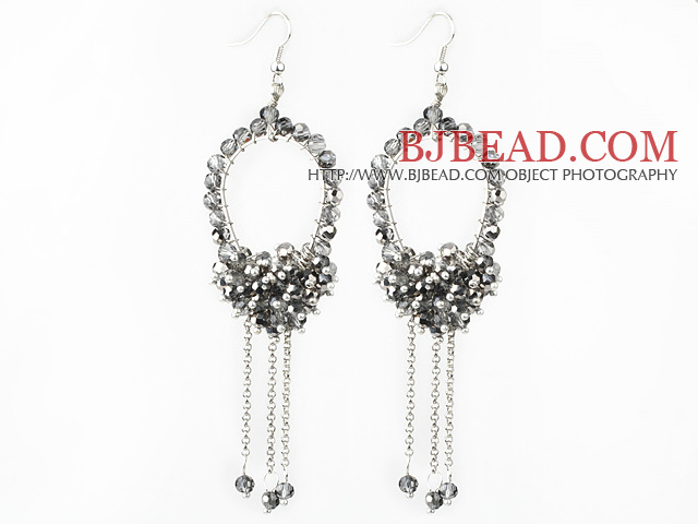 New Style Gray Series Gray and Clear Crystal Tassel Fashion Earrings