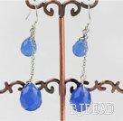 12-16mm blue drop shape crystal earrings