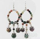 Indian Agate Earrings with big hoop