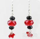 Black and Red Crystal Dangle Earrings