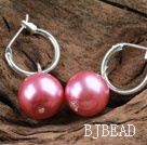 Simple Style Rose Color Seashell Earrings
