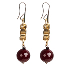 Long Style Garnet Rose Red Agate Dangle Earrings With Golden Charms