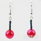 Simple Design Rose Color Agate Dangle Earrings