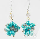 Blue Freshwater Pearl and Clear Crystal Earrings