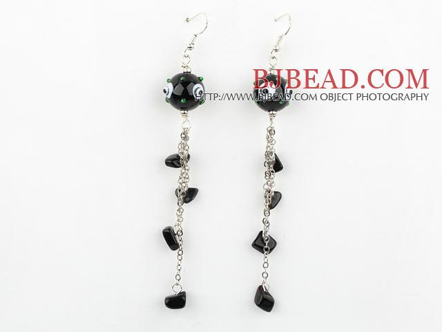 Fashion Style Black Colored Glaze Dangle Earrings