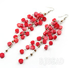 New Design Red Coral Dangle Xmas Holiday Earrings
