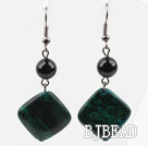 Dangle Style Round Black Agate and Diamond Shape Phoenix Stone Earrings under $ 40