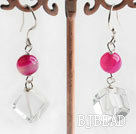 pink agate and white crystal dangle earrings
