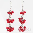 Long Style Red Coral Dangle Earrings with Metal Chain