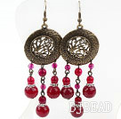 Vintage Style Rose Red Agate Earrings