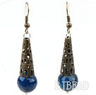 Vintage Style Faceted Blue Agate Earrings