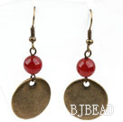 Red Carnelian Earrings with Bronze Flat Accessories