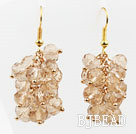 Cluster Style Silver Champagne Color Crystal Earrings
