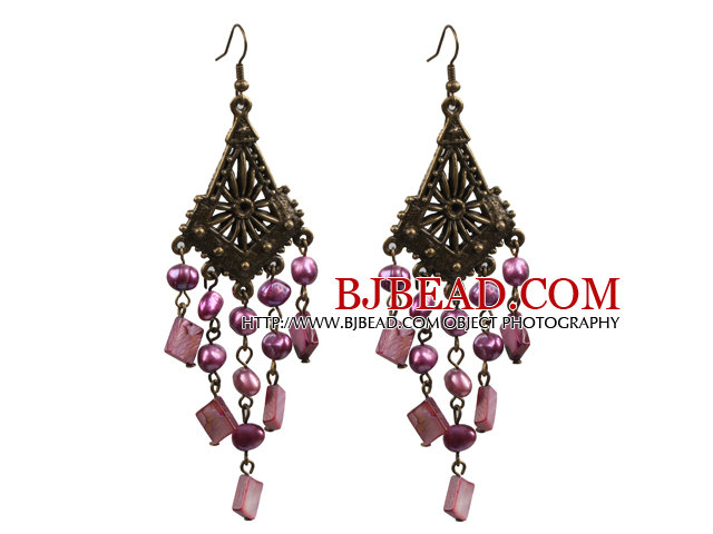 Vintage Style Chandelier Shape Purple Pearl Square Shell Dangle Earrings