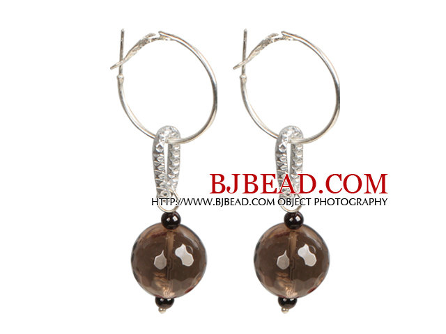 Trendy Style Faceted Smoky Quartz Dangle Earrings with Big Loop Hook