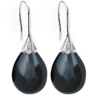 Classic Design Drop Shape Black Color Seashell Beads Earrings under $ 40