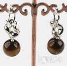 12mm round tiger eyes earrings