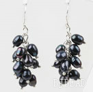 Cluster Style Rice Shape Black Freshwater Pearl Earrings under $ 40