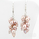 Cluster Style Rice Shape Natural Purple Freshwater Pearl Earrings under $ 40