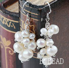 Cluster Style Natural White Freshwater Pearl Earrings