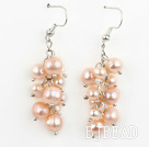 Dangle Style Natural Pink Freshwater Pearl Earrings