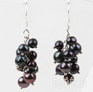 Dangle Style Black Freshwater Pearl Earrings