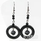 Assorted Black Agate Donut Earrings