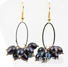New Design Black Freshwater Pearl Earrings