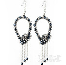 New Style Black Series Black and Gray Crystal Tassel Fashion Earrings under $ 40