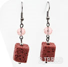 Brick Red Volcanic Stone Earrings