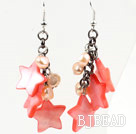 Pink Series Pink Pearl and Star Shape Shell Dangle Earrings