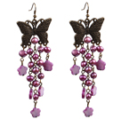 Vintage Style Chandelier Shape Purple Pearl Shell Flower Dangle Earrings With Butterfly Bronze Accessory