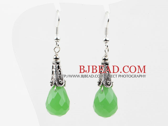 Drop Shape Faceted Grass Green Crystal Earrings