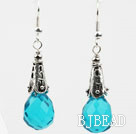Drop Shape Faceted Lake Blue Crystal Earrings