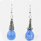 Drop Shape Faceted Blue Crystal Earrings