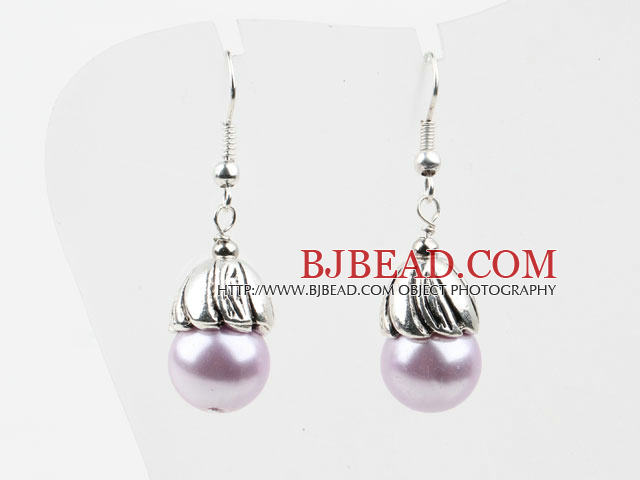 Round Lihgt Purple Seashell Beads Earrings