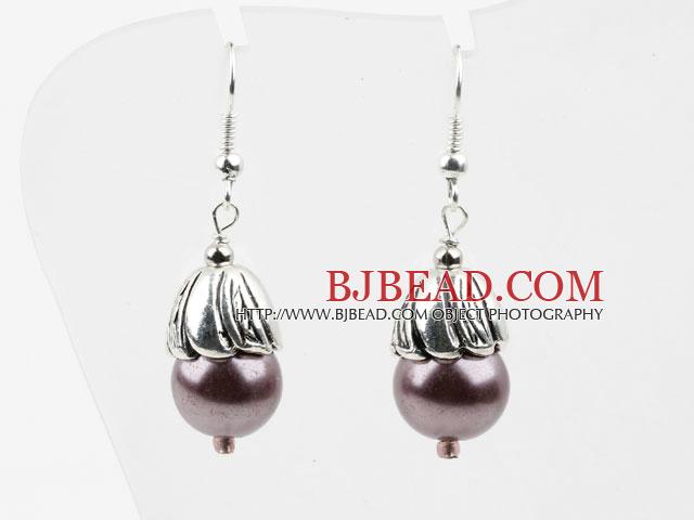 Simple Style Purple Seashell Beads Earrings
