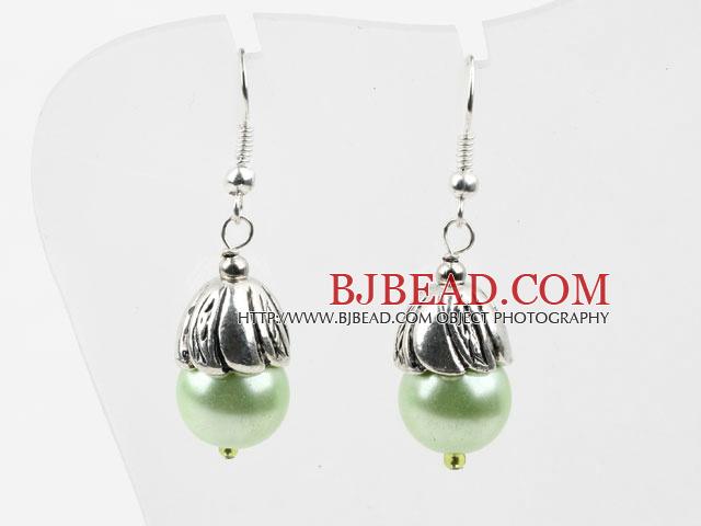Simple Style Light Green Seashell Beads Earrings
