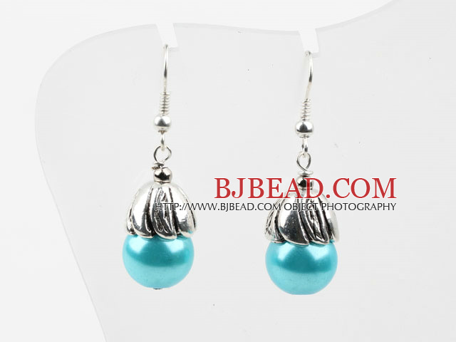 Simple Style Lake Blue Seashell Beads Earrings