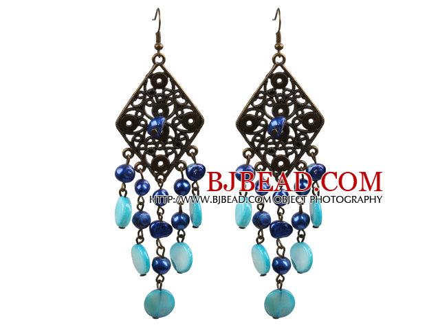 Vintage Style Chandelier Shape Blue Pearl Shell Dangle Earrings With Rhombus Bronze Accessory