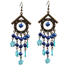 Vintage Long Style Chandelier Shape Blue Pearl Shell Flower Dangle Earrings