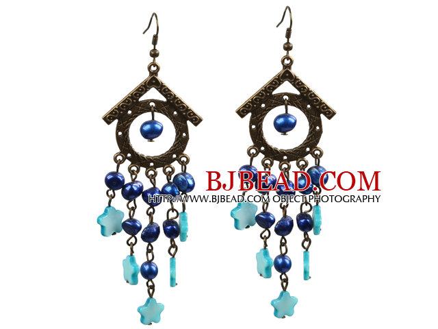 Vintage Long Style Chandelier Shape Blue Pearl Shell Flower Dangle Earrings