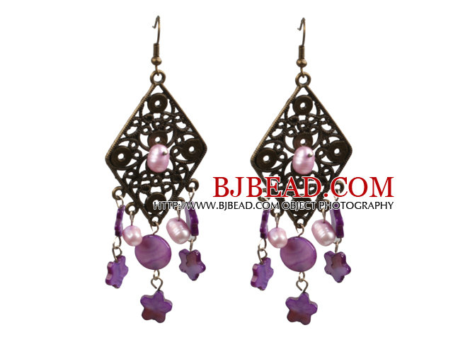 Vintage Style Chandelier Shape Pink Purple Pearl Shell Dangle Earrings With Rhombus Bronze Accessory