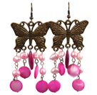 Vintage Style Pink Pearl Shell Dangle Earrings With Butterfly Bronze Accessory