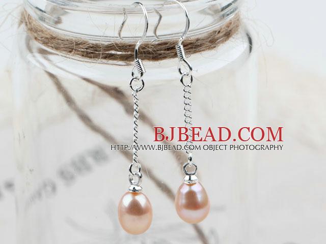 Classic Design Dangle Style Natural Purple Freshwater Pearl Bridal Earrings