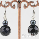 decent black pearl and blue sandstone earrings