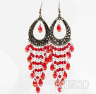 Vintage Style Red Drop Shape Crystal Tassel Earrings